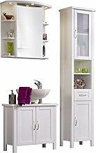 SAM® Badmöbel-Set 3-tlg, Valencia, Kiefernholz weiß lackiert, Spiegelschrank, Hochschrank, Waschbeckenunterschrank