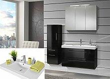 SAM® Badmöbel-Set 3-tlg, Zürich, Hochglanz schwarz, Softclose Badezimmermöbel, Waschplatz 90 cm Mineralgussbecken, Spiegelschrank, Hochschrank