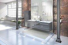 SAM® Badmöbel-Set 4-tlg, Barcelona, hochglanz grau, Softclose Badezimmermöbel, Doppelwaschplatz 150 cm Mineralgussbecken, zwei Spiegel, Hochschrank