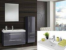 SAM® Badmöbel-Set 4-tlg, hochglanz grau, Softclose Badezimmermöbel, Waschplatz 90 cm Mineralgussbecken, Spiegel, Hochschrank [521677]