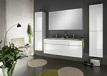 SAM® Badmöbel-Set 4-tlg, Parma, Hochglanz weiß, Softclose Badezimmermöbel, Doppelwaschplatz 140 cm Mineralgussbecken, Spiegelschrank, zwei Hochschränke