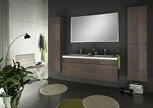 SAM® Badmöbel-Set 4-tlg, Parma, Trüffeleiche, Softclose Badezimmermöbel, Doppelwaschplatz 140 cm Mineralgussbecken, Spiegelschrank, zwei Hochschränke