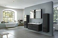 SAM® Badmöbel-Set 4-tlg Villa, hochglanz schwarz, Softclose Badezimmermöbel, Doppelwaschplatz 120 cm Mineralgussbecken, Spiegelschrank, zwei Hochschränke