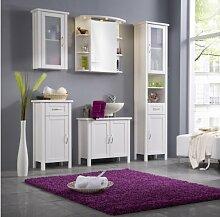 SAM® Badmöbel-Set 5-tlg, Kiefernholz weiß lackiert, Badezimmermöbel, Waschplatz, Spiegelschrank, Hochschrank, Hängeschrank, Unterschrank
