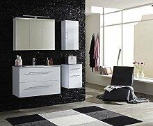 SAM® Badmöbel-Set Basel 4 teilig, hochglanz weiß, 90 cm, Mineralgussbecken in weiß, Softclose-Funktion, bestehend aus 1 x Spiegelschrank, 1 x Waschplatz, 1 x Hängeschrank, 1 x Unterschrank
