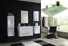 SAM® Badmöbel-Set Basel light 5 teilig, hochglanz weiß, 90 cm, Milchglasbecken grün, Softclose-Funktion, 1 x Spiegelschrank, 1 x Waschplatz, 1 x Hochschrank, 1 x Hängeschrank, 1 x Unterschrank
