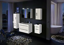 SAM® Badmöbel-Set Davos 5tlg, in weiß, Milchglasbecken in weiß, mit Softclose-Funktion, bestehend aus 1 x Spiegelschrank, 1 x Waschplatz, 1 x Unterschrank, 1 x Hängeschrank, 1 x Hochschrank