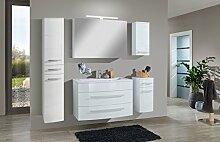 SAM® Badmöbel-Set Genf Deluxe XL 5tlg, in weiß, 100 cm, Mineralgussbecken, Softclose-Funktion, bestehend aus 1 x Spiegelschrank, 1 x Waschplatz, 1 x Hängeschrank, 1 x Unterschrank, 1 x Hochschrank