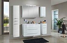 SAM® Badmöbel-Set Genf XL 5tlg, in weiß, 100 cm Breite, Mineralgussbecken, Softclose-Funktion, bestehend aus 1 x Spiegelschrank, 1 x Waschplatz, 1 x Hängeschrank, 1 x Unterschrank, 1 x Hochschrank