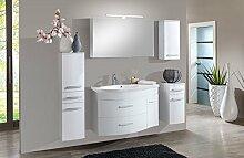SAM® Badmöbel-Set Lugano Deluxe 5tlg, in weiß, 110 cm, Mineralgussbecken, Softclose-Funktion, Set aus 1 x Spiegelschrank, 1 x Waschplatz, 1 x Hängeschrank, 1 x Unterschrank, 1 x Hochschrank