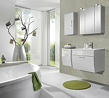 SAM® Badmöbel-Set Santana 4tlg, 70 cm, in weiß, Milchglasbecken in grün, Badezimmer mit Softclose-Funktion, 1 x Spiegelschrank, 1 x Waschplatz, 1 x Unterschrank, 1 x Hängeschrank