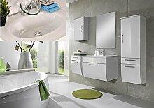 SAM® Badmöbel-Set Santana 5tlg, 70 cm, in weiß, Milchglasbecken in weiß, mit Softclose-Funktion, 1 x Spiegel, 1 x Waschplatz, 1 x Hochschrank, 1 x Unterschrank, 1 x Hängeschrank