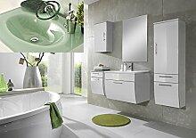 SAM® Badmöbel-Set Santana 5tlg, 70 cm, in weiß, Milchglasbecken in grün, mit Softclose-Funktion, 1 x Spiegel, 1 x Waschplatz, 1 x Hochschrank, 1 x Unterschrank, 1 x Hängeschrank