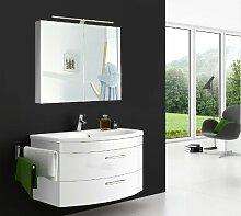 SAM® Badmöbel-Set Vena 2tlg, 80 cm, Hochglanz weiß, mit Mineralguss-Waschbecken, Schubladen und Türen mit Softclose-Funktion, Badezimmer mit Waschplatz und Spiegelschrank