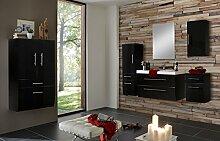 SAM® Badmöbel-Set Zürich, 90 cm, in Hochglanz schwarz, 6tlg. Badezimmer mit Softclose-Funktion, 1 Waschplatz, 1 Spiegel, 1 Hochschrank, 1 breiter Hochschrank, 1 Unterschrank, 1 Hängeschrank