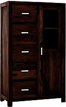 SAM® Brotschrank Wales 1501 aus stonefarbenem Sheesham Palisanderholz geöltes Massivholz Handgearbeitet 147 cm hoch