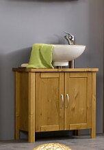SAM® Design-Badezimmer Badmöbel Unterschrank in honig Valencia, Badschrank aus lackiertem Kiefer, massives Kiefernholz, landhäuslicher Stil, edelstahl-farbene Griffe, viel Stauraum