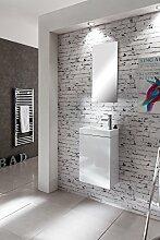 SAM® Design Badmöbel Badezimmer Waschplatz Vega in hochglanz weiß, hochglänzende Oberfläche, drehbares Kunststoff-Waschbecken, Tür mit Push-Open-Funktion
