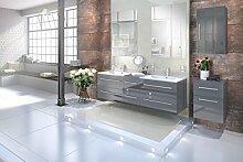SAM® Design Badmöbel-Set Barcelona 5tlg, Hochglanz grau, 150 cm, mit Softclosefunktion, Badezimmer-Set bestehend aus 2 x Spiegel, 1 x Doppelwaschplatz, 1 x Hängeschrank, 1 x Unterschrank