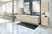 SAM® Design Badmöbel-Set Barcelona 6tlg, in Sonomaeiche, 150 cm, mit Softclosefunktion, bestehend aus 2 x Spiegel, 1 x Doppelwaschplatz, 1 x Hängeschrank, 1 x Unterschrank, 1 x Hochschrank