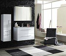SAM® Design Badmöbel-Set Basel 3 teilig, hochglanz weiß, 90 cm, Keramikbecken in weiß, Softclose-Funktion, bestehend aus 1 x Spiegelschrank, 1 x Waschplatz, 1 x Hochschrank