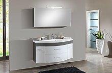 SAM® Design Badmöbel-Set Lugano Deluxe 2tlg, in weiß-grau, 130 cm Breite, Mineralgussbecken, Softclose-Funktion, Set aus 1 x Spiegelschrank, 1 x Waschplatz