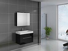 SAM® Design Badmöbel-Set Lunar, 80 cm, in Hochglanz schwarz, 2tlg. Designer Badezimmer mit Softclose-Funktion, 1 Waschplatz, 1 Spiegelschrank