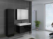SAM® Design Badmöbel-Set Parma, 100 cm, in Hochglanz schwarz, 3tlg. Designer Badezimmer mit Softclose-Funktion, 1 Waschplatz, 1 Spiegelschrank, 1 Hochschrank