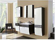 SAM® Design Badmöbel Set Salona 5B in weiß / anthrazit 5 teilig, 1 x 70 cm Waschplatz inkl. Mineralguss Waschbecken eckig + 1 x Spiegelschrank + 1 x Hochschrank + 1 x Unterschrank + 1 x Hängeschrank
