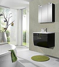 SAM® Design Badmöbel-Set Santana 2tlg, 70 cm, in anthrazit, Milchglasbecken in grün, Türen und Schubladen mit Softclose-Funktion, Badezimmer bestehend aus 1 x Spiegelschrank, 1 x Waschplatz