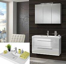 SAM® Design Badmöbel-Set Zürich, 90 cm, in Hochglanz weiß, 2tlg. Designer Badezimmer mit Softclose-Funktion, 1 Waschplatz mit Mineralgussbecken und 1 Spiegelschrank