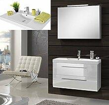 SAM® Design Badmöbel-Set Zürich Deluxe, 90 cm, in Hochglanz weiß, 2tlg. Designer Badezimmer mit Softclose-Funktion, 1 Waschplatz mit Mineralgussbecken und 1 Spiegelschrank Deluxe
