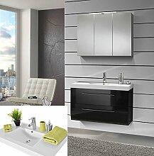 SAM® Design Badmöbel-Set Zürich SS, 90 cm, in Hochglanz schwarz, 2tlg. Designer Badezimmer mit Softclose-Funktion, 1 Waschplatz mit Mineralgussbecken und 1 Spiegelschrank