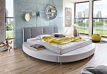 SAM Design Rundbett 180x200 cm Bastia, weiß/grau,