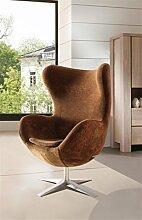 SAM® Design-Sessel in Gold, Armlehnstuhl in Stoff mit Füßen aus Edelstahl, Sessel höhenverstellbar, abnehmbares Sitzkissen, 360° drehbar, bequemer Sitzkomfort [53262524]