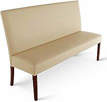 SAM® Esszimmer Sitzbank, 140 cm, in creme mit kolonial-farbenen Beinen, Sitzbank mit Rückenlehne aus Samolux®-Bezug, angenehmer Sitzkomfort, frei im Raum aufstellbare Bank [53258403]
