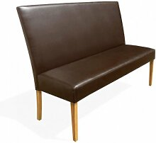 SAM® Esszimmer Sitzbank Bari II, 160 cm, in braun mit buche-farbigen Beinen aus Pinien-Holz, Sitzbank mit Rückenlehne aus Samolux®-Bezug, angenehmer Sitzkomfort, frei im Raum aufstellbare Bank