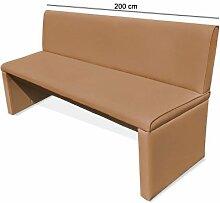 SAM® Esszimmer Sitzbank Family Chaplin, in cappuccino, Sitzbank mit Rückenlehne aus Samolux®-Bezug, angenehmer Sitzkomfort, freistehende Bank, 200 cm