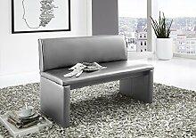 SAM® Esszimmer Sitzbank Family Hilton, in hellgrau, Sitzbank mit Rückenlehne aus Samolux®-Bezug, angenehmer Sitzkomfort, freistehende Bank, 180 cm