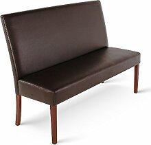 SAM® Esszimmer Sitzbank Florenz, 120 cm, in braun mit kolonial-farbigen Beinen aus Pinien-Holz, Sitzbank mit Rückenlehne aus Samolux®-Bezug, angenehmer Sitzkomfort, frei im Raum aufstellbare Bank