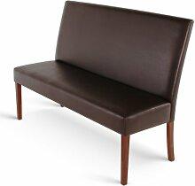 SAM® Esszimmer Sitzbank Florenz II, 160 cm, in braun mit kolonial-farbigen Beinen aus Pinien-Holz, Sitzbank mit Rückenlehne aus Samolux®-Bezug, angenehmer Sitzkomfort, frei im Raum aufstellbare Bank