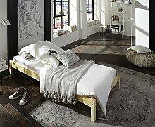 SAM® Futonbett Sina 90x200 cm, Jugendbett, natur, Kiefernholz, massives Bett aus Kiefer