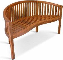 SAM® Garten-Bank Bananen-Bank aus Akazien-Holz, FSC 100% zertifiziert, 2 Sitzer Holzbank, Balkon-Bank aus Akazien-Holz geölt, Garten-Möbel braun, Massiv-Holz-Bank für Terrasse, 124 cm Breite