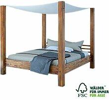 SAM® Himmelbett Ella 140x200 cm, Bett aus Massivholz inkl. Stoffhimmel, Akazien-Holz, Unika
