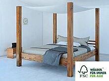 SAM® Himmelbett Ella 160x200 cm, Bett aus Massivholz inkl. Stoffhimmel, Akazien-Holz, Unika