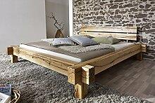 SAM® Holzbett Johann 180 x 200 cm Bett aus Wildeiche Holz massiv und geölt Kopfteil geteil