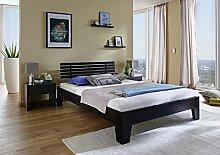 SAM® Massiv-Holzbett Beaumont in Kernbuche wenge, Bett mit hohem mehrfach geteiltem Kopfteil, natürliche Maserung, massive widerstandsfähige Oberfläche in zeitlosem Naturton, 160 x 200 cm