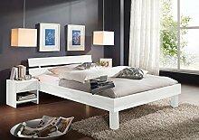 SAM® Massiv-Holzbett Columbia in Buche weiß, Bett mit geteiltem Kopfteil, natürliche Maserung, massive widerstandsfähige Oberfläche in edlem Weißton, 180 x 200 cm