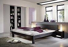 SAM® Massiv-Holzbett Columbia in Buche wenge, Bett mit geschlossenem Kopfteil, natürliche Maserung, massive widerstandsfähige Oberfläche in warmem Braunton, 100 x 200 cm