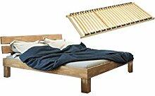 SAM® Massiv-Holzbett Johanna inklusive 2 x Lattenrost, Holz-Bett aus massiver Kernbuche, Bett mit geteiltem Kopfteil, natürliche widerstandsfähige Oberfläche, 160 x 200 cm